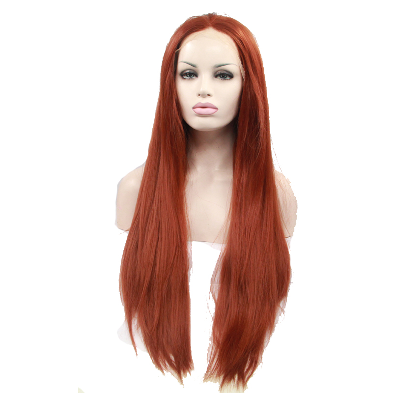 Glueless Copper Red Long Straight Synthetic Lace Front Wig