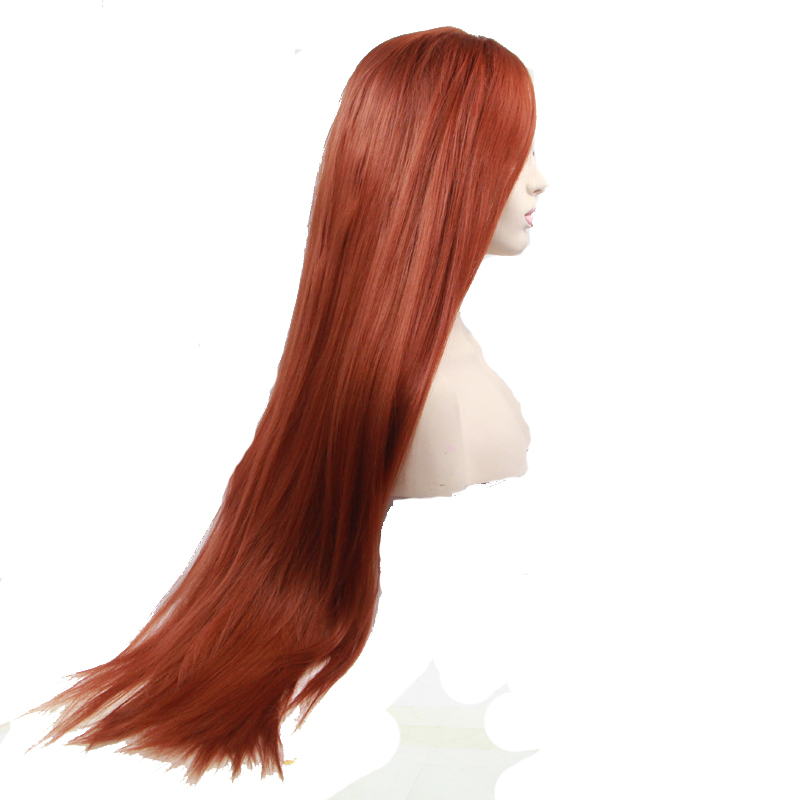 Glueless Copper Red Long Straight Synthetic Lace Front Wig 1
