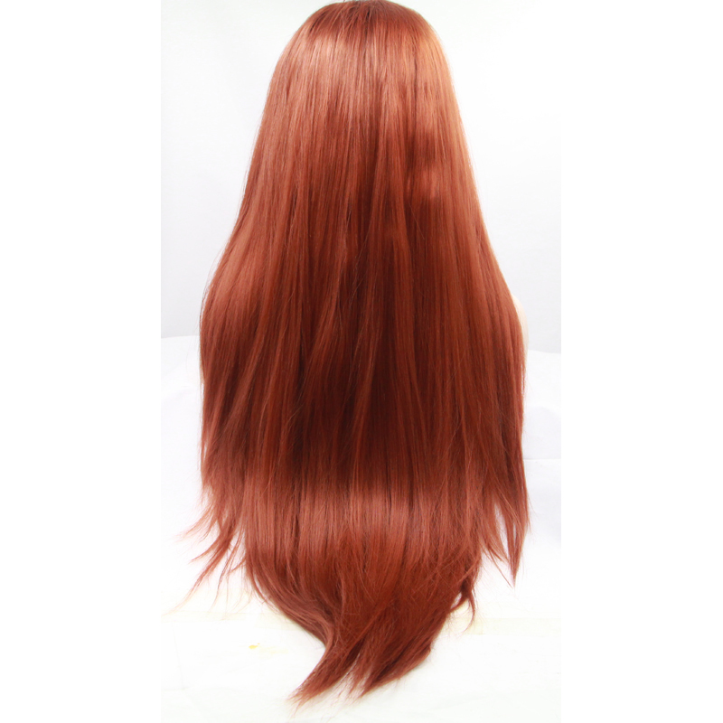 Glueless Copper Red Long Straight Synthetic Lace Front Wig 3