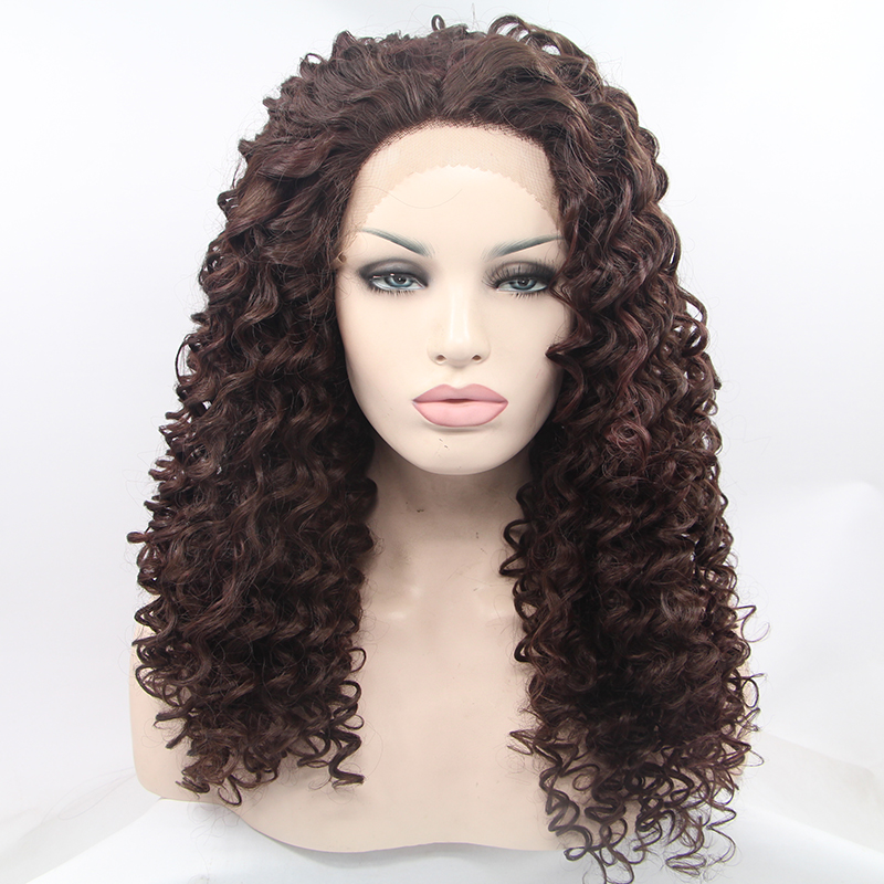 Glueless Fashion Ombre Brown Curly Synthetic Lace Front Wig