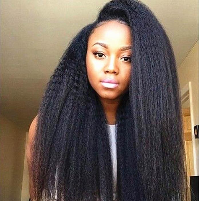 Glueless Full Lace Wigs Indian Remy Hair Italian Yaki Straight 0
