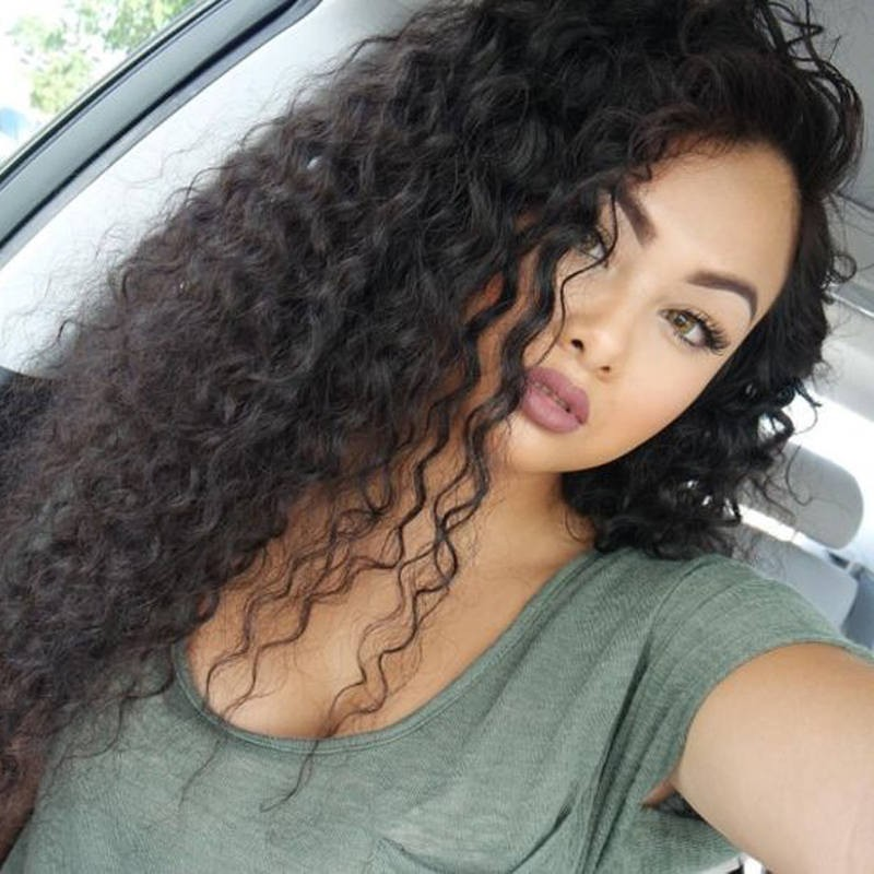 Glueless Full Lace Wigs Peruvian Virgin Hair Loose Curly 0