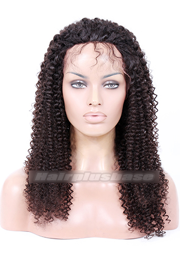 20 Inch Kinky Curl Brazilian Virgin Hair Glueless Lace Front Wigs
