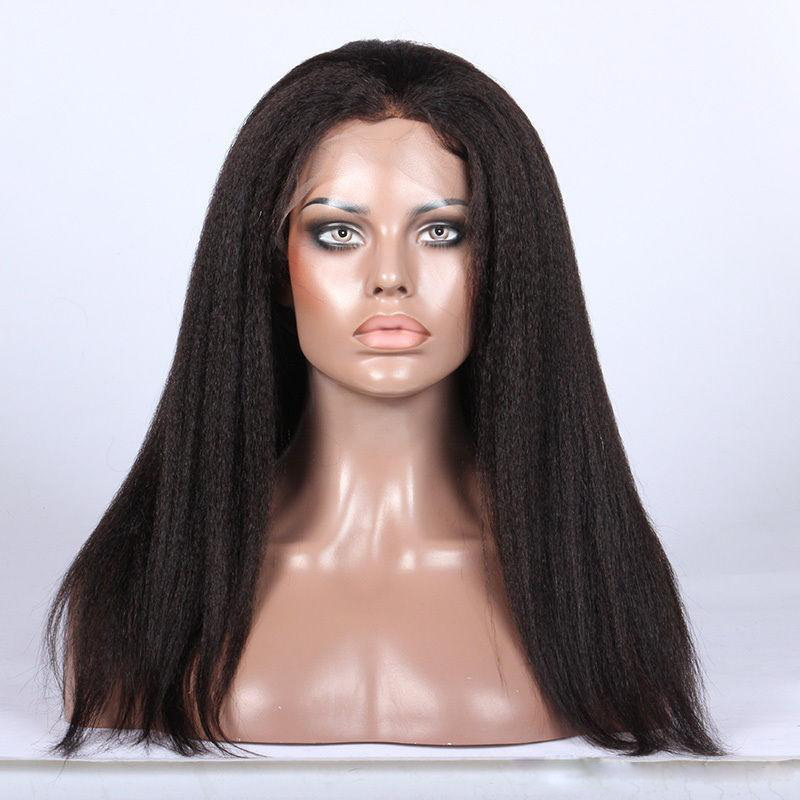 22 Inch Kinky Straight Brazilian Virgin Hair Glueless Lace Front Wigs
