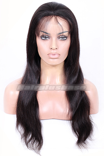 20 Inch Natural Straight Brazilian Virgin Hair Glueless Lace Front Wigs