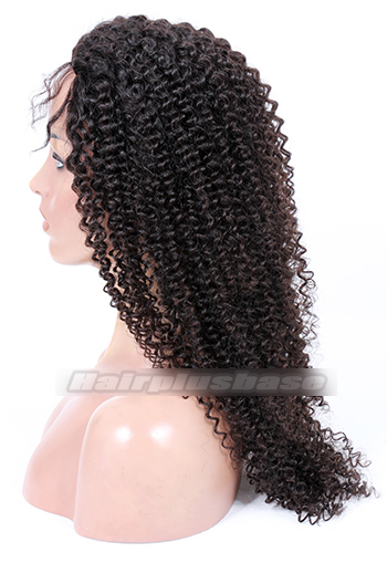 20 Inch Kinky Curl Chinese Virgin Hair Glueless Lace Front Wigs