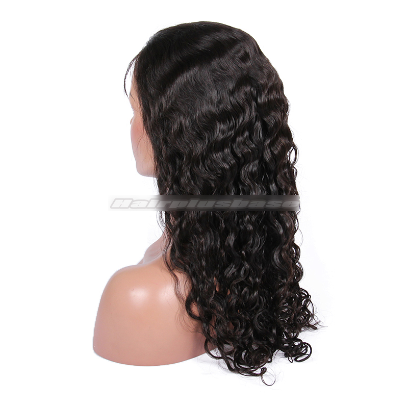 Peruvian Curl Chinese Virgin Hair Glueless Front Lace Wigs
