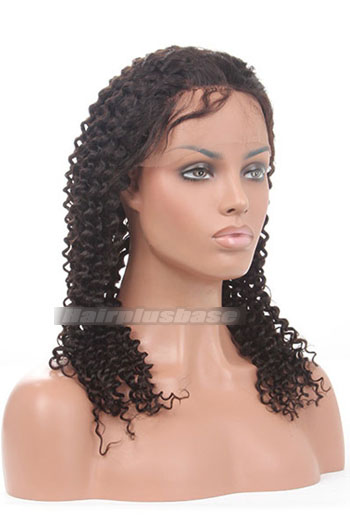 Deep Curl Indian Remy Hair Glueless Lace Front Wigs