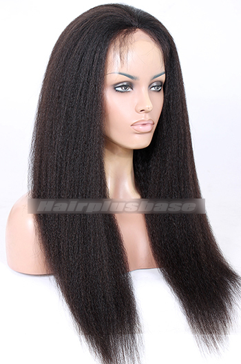 24 Inch Kinky Straight Indian Remy Hair Glueless Lace Front Wigs