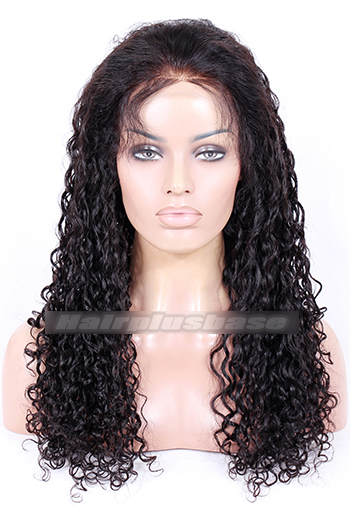 22 Inch Water Wave Indian Remy Hair Glueless Lace Front Wigs