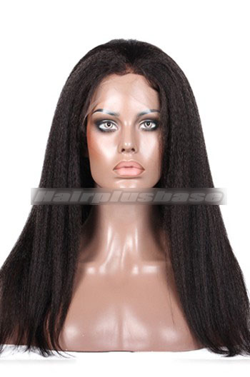 Kinky Straight Malaysian Virgin Hair Glueless Lace Front Wigs