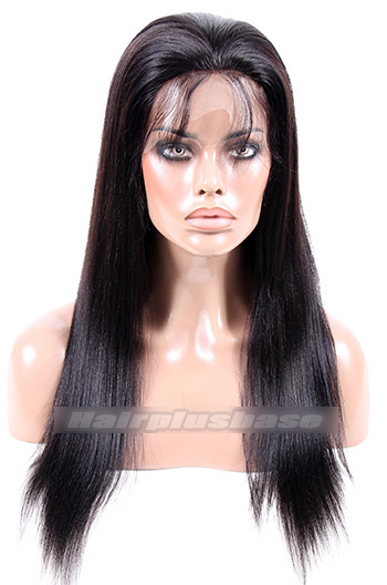 18 Inch #1B Malaysian Virgin Hair Light Yaki Glueless Lace Front Wigs