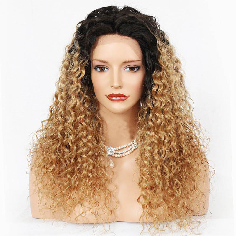 Glueless Lace Front Wigs Peruvian Virgin Hair Curly Ombre Wigs #NC/27A