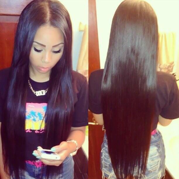 Glueless Lace Front Wigs Peruvian Virgin Human Hair Yaki Straight 0