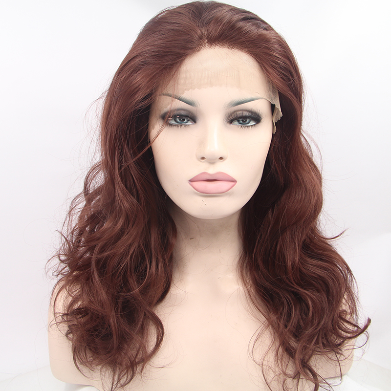 Glueless Long Ombre Brown Synthetic Lace Front Wig
