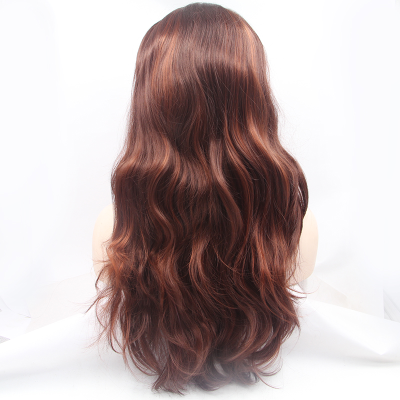 Glueless Long Ombre Brown Synthetic Lace Front Wig 2