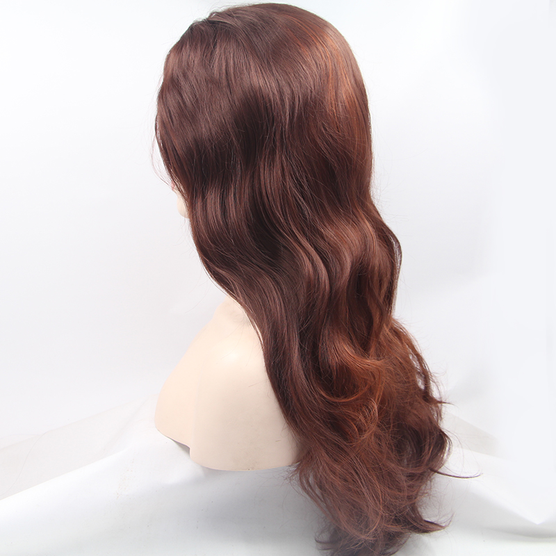 Glueless Long Ombre Brown Synthetic Lace Front Wig 4