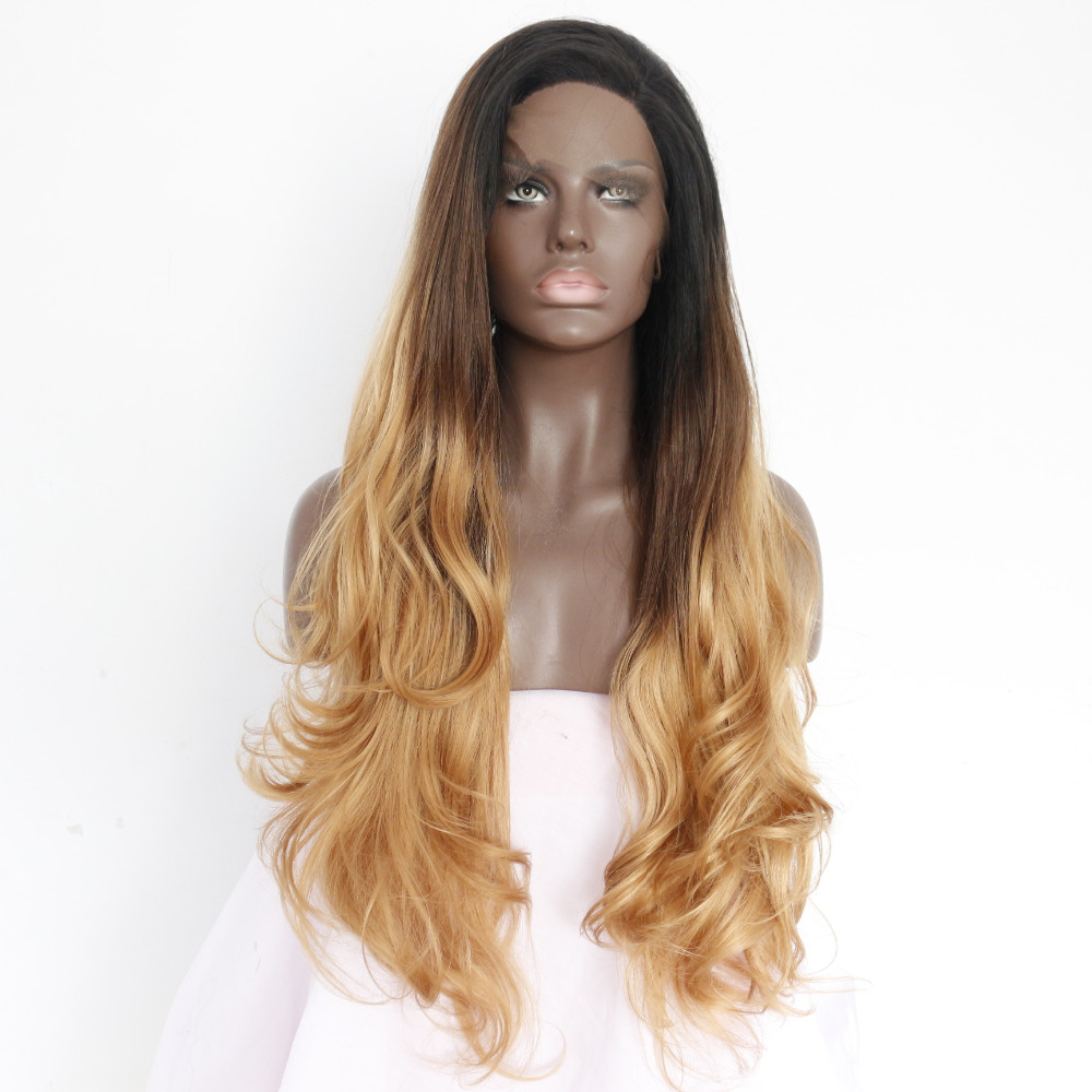 Glueless Long Wavy Two Tone Ombre Synthetic Lace Front Wig