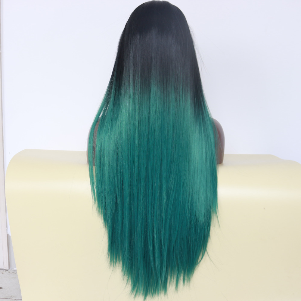 Glueless Natural Straight Ombre Green Lace Front Wig 2