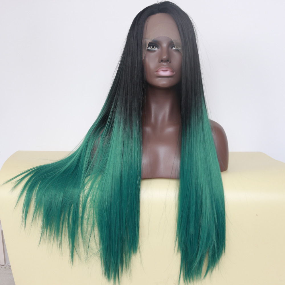 Glueless Natural Straight Ombre Green Lace Front Wig 3