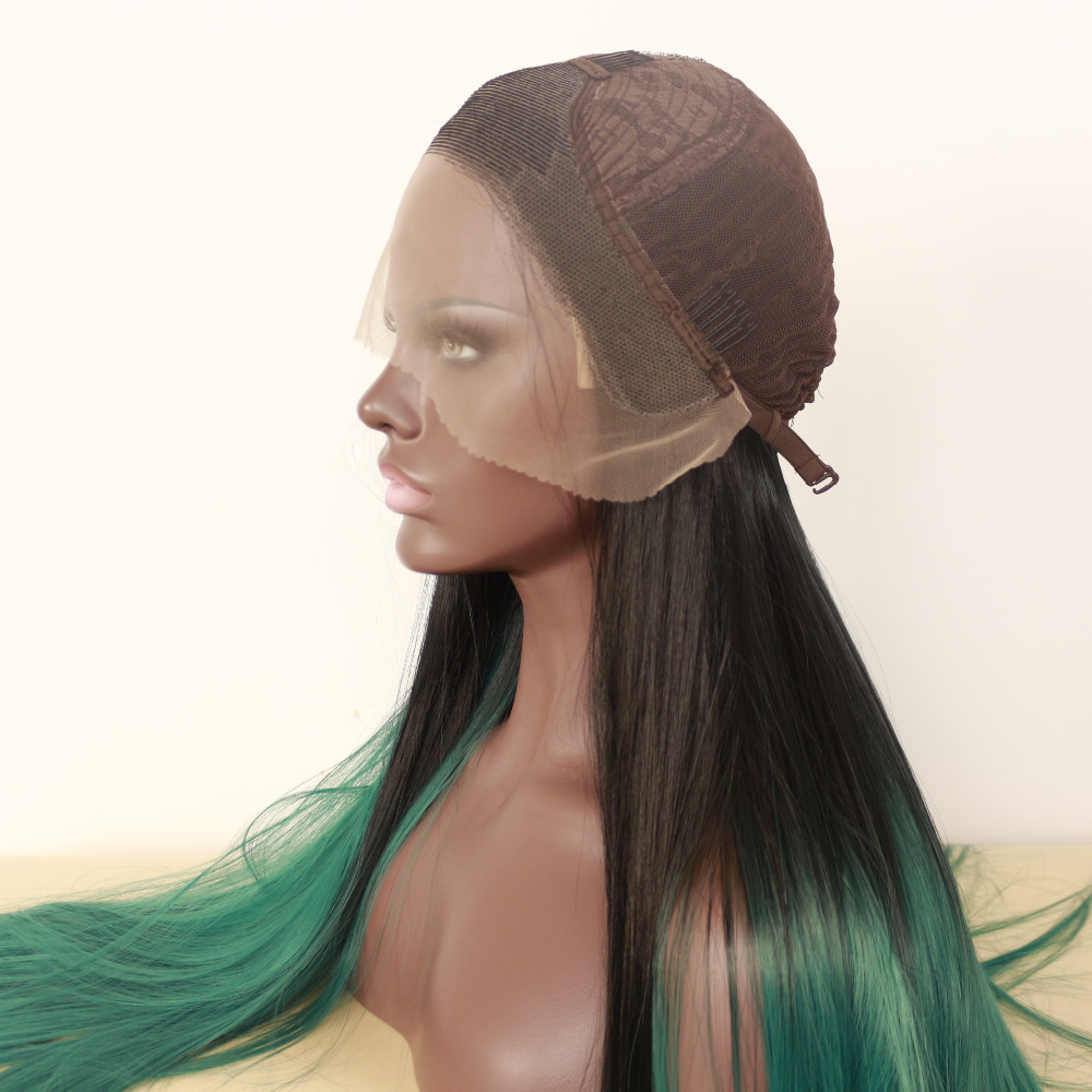 Glueless Natural Straight Ombre Green Lace Front Wig 4