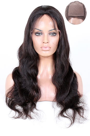 Body Wave Indian Remy Hair Glueless Silk Top Full Lace Wigs