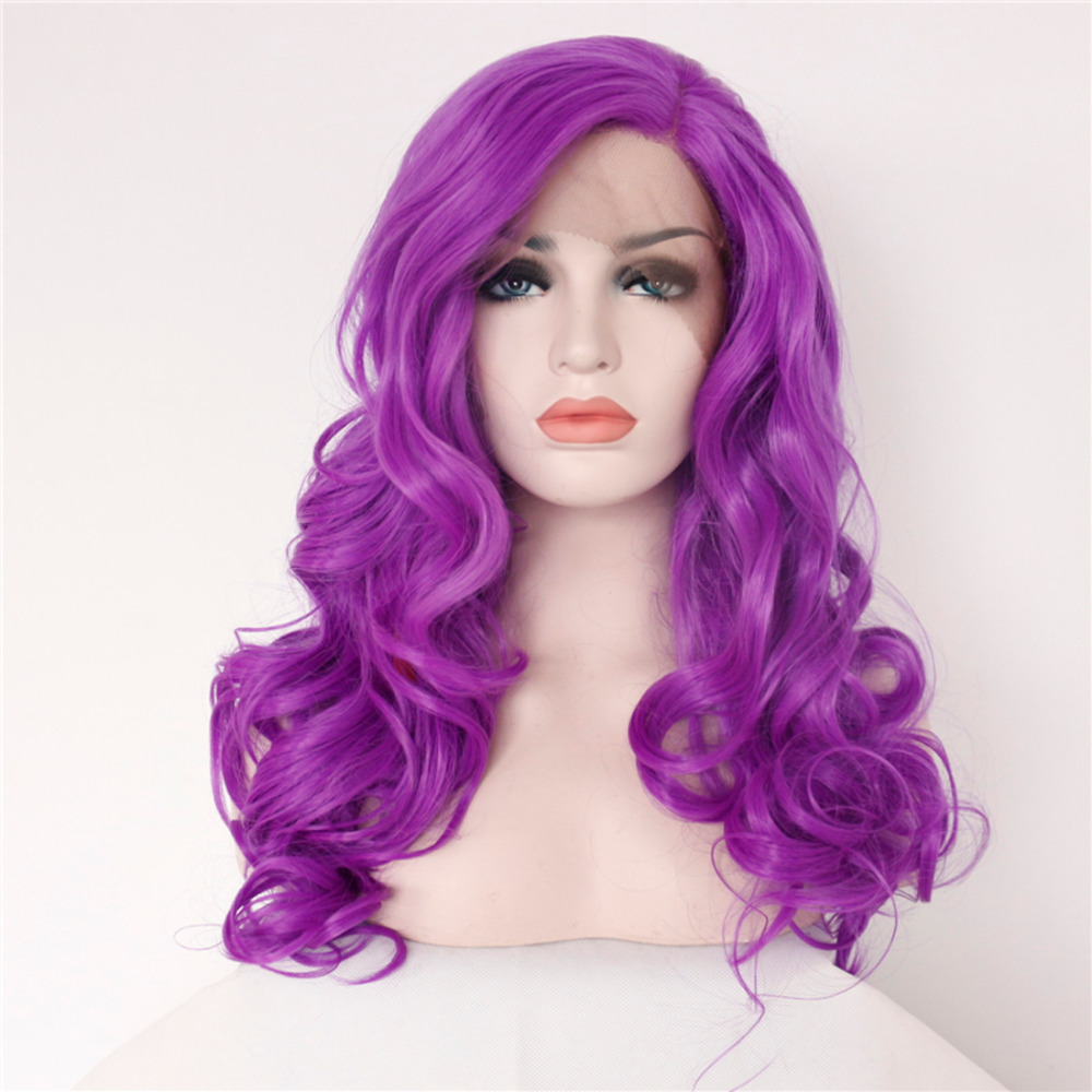 Glueless Violet body Wavy Synthetic Lace Front Wigs
