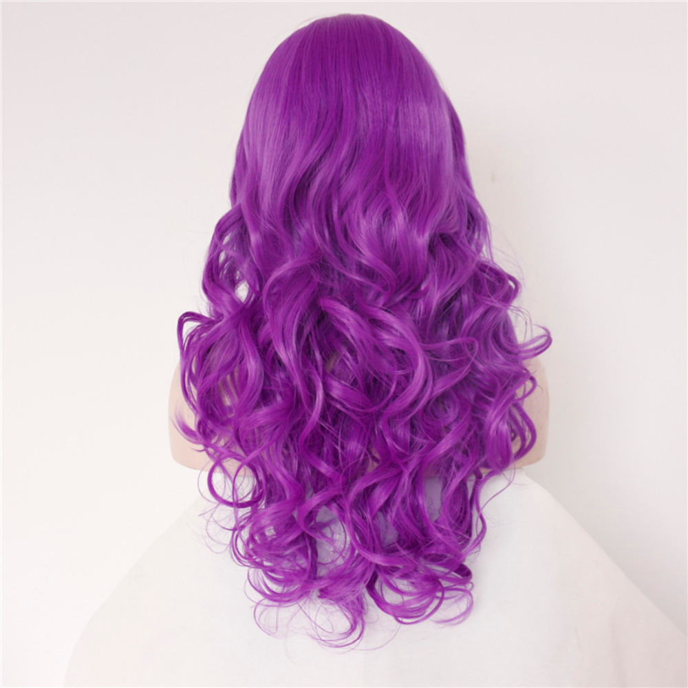 Glueless Violet body Wavy Synthetic Lace Front Wigs 2
