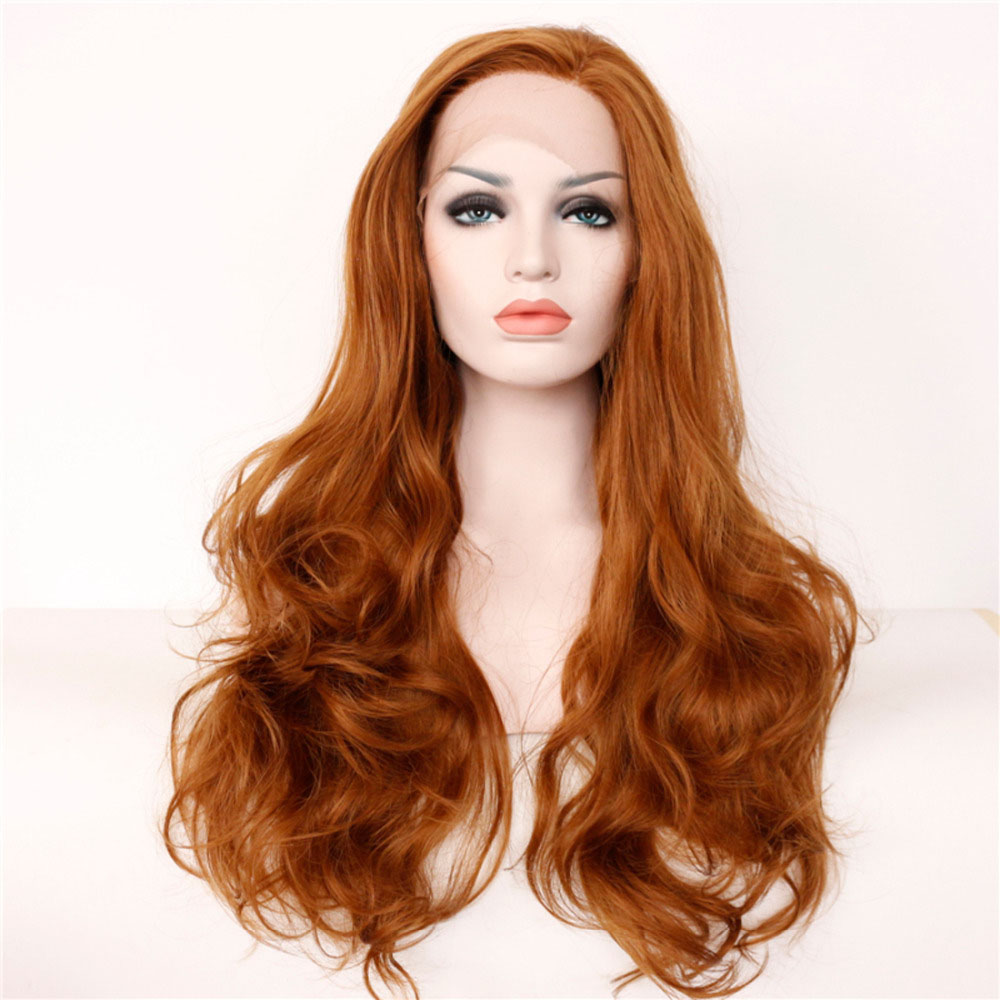 Glueless Wavy Hand Tied Synthetic Lace Front Wigs