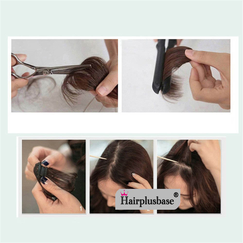 Gorgeous Real Human Hair Air Bangs With Temples/No Sideburns Mini Fashion Clip In Hair Extension 9