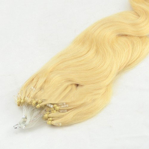Great Quality 24 Inch #613 Bleach Blonde Body Wave Micro Loop Hair Extensions 100 Strands details pic 1