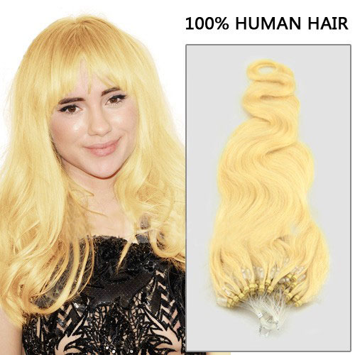 great quality 34 inch  613 bleach blonde body wave micro loop hair extensions 100 strands 21705 t
