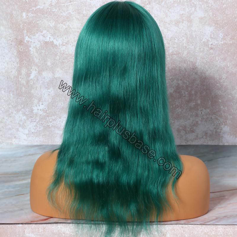 Green Hair  Full Lace Wigs Natural Straight, 120% Density, Indian Remy Hair 1