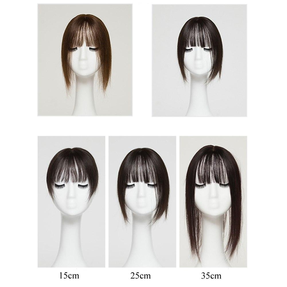 Hair Clip In 100% Human Hair Topper Piece Thin Air Bangs Fringe Remy Human Hairpiece 8