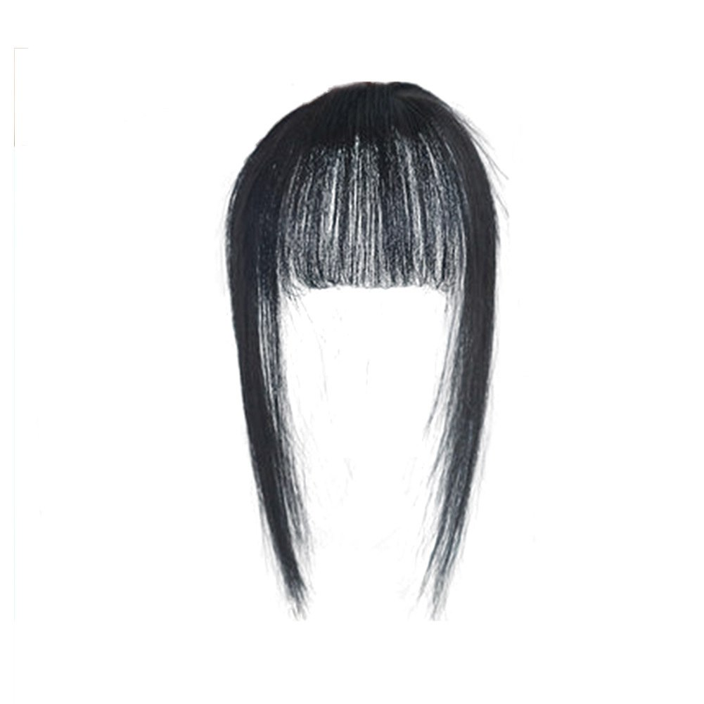 Hair Toupee Neat Bangs Stragight  Mono 3.5*4.5cm Net Breathable Light And Thin Straight Hair Topper For Loss Hair Cover White Hair