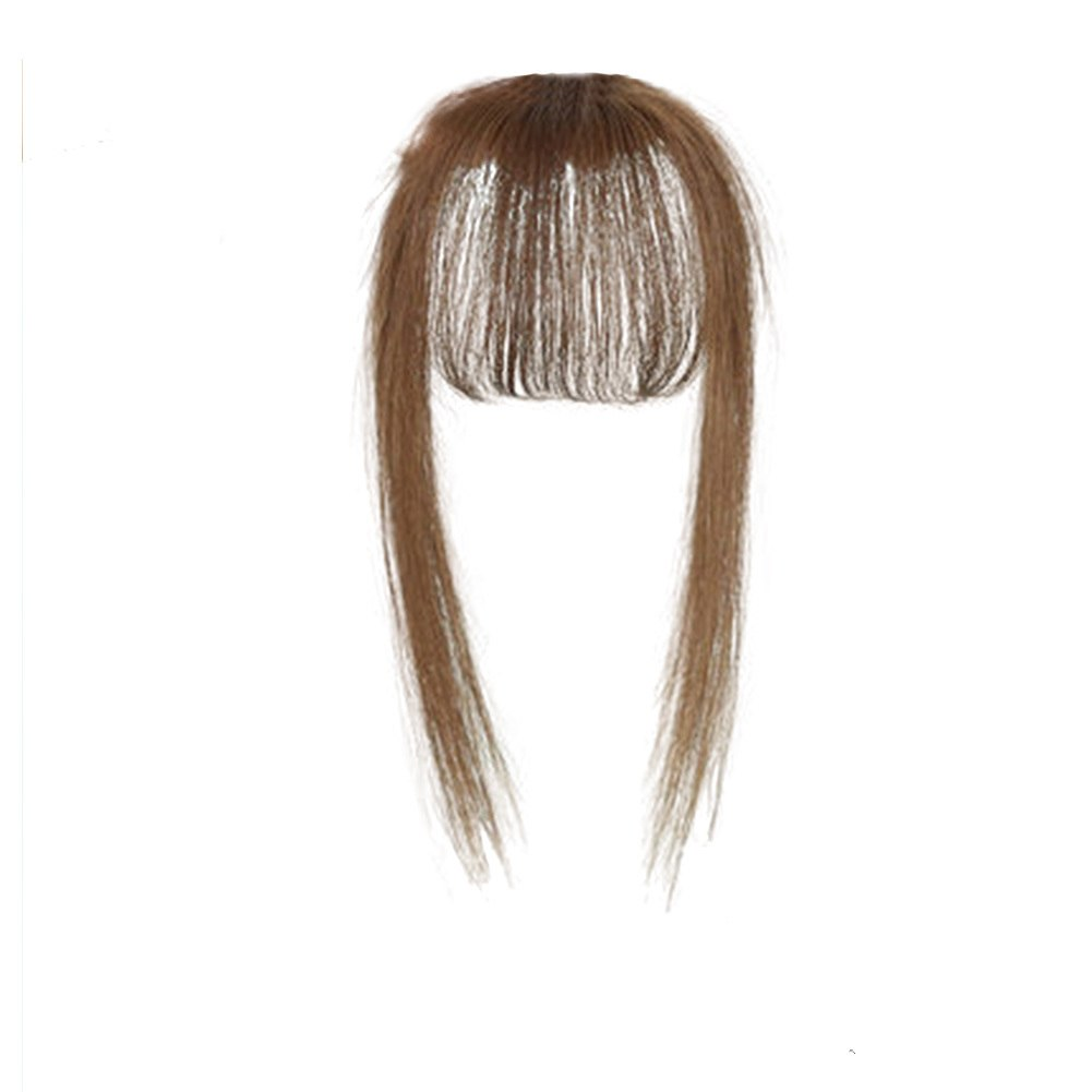 Hair Toupee Neat Bangs Stragight  Mono 3.5*4.5cm Net Breathable Light And Thin Straight Hair Topper For Loss Hair Cover White Hair 1