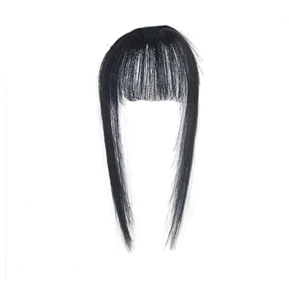 Hair Toupee Neat Bangs Stragight  Mono 3.5*4.5cm Net Breathable Light And Thin Straight Hair Topper For Loss Hair Cover White Hair 3