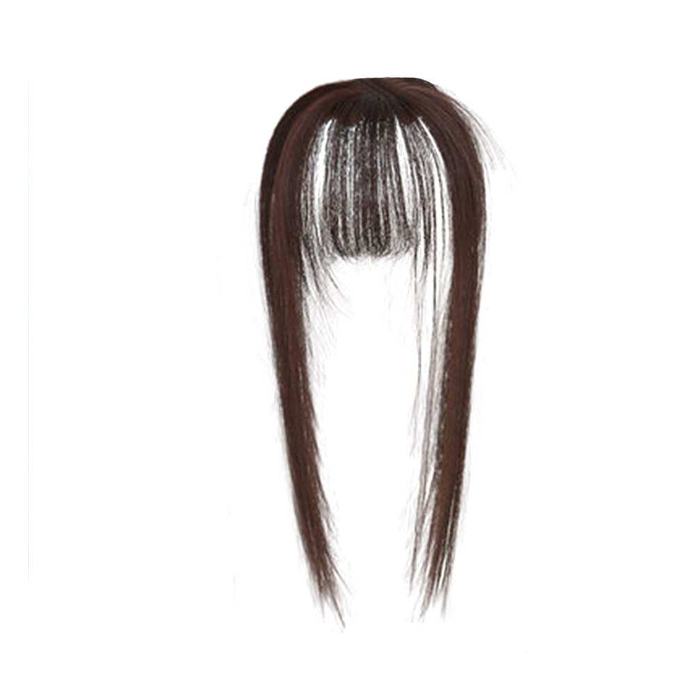 Hair Toupee Neat Bangs Stragight  Mono 3.5*4.5cm Net Breathable Light And Thin Straight Hair Topper For Loss Hair Cover White Hair 4