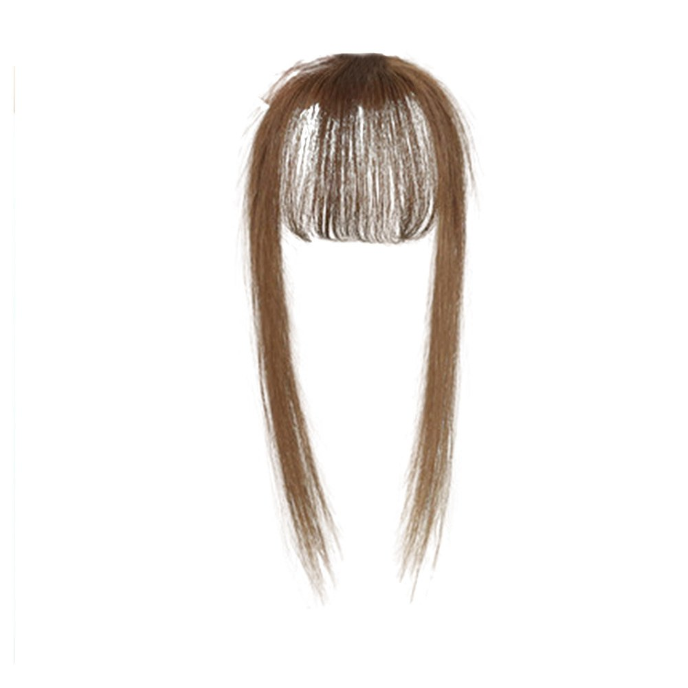 Hair Toupee Neat Bangs Stragight  Mono 3.5*4.5cm Net Breathable Light And Thin Straight Hair Topper For Loss Hair Cover White Hair 5