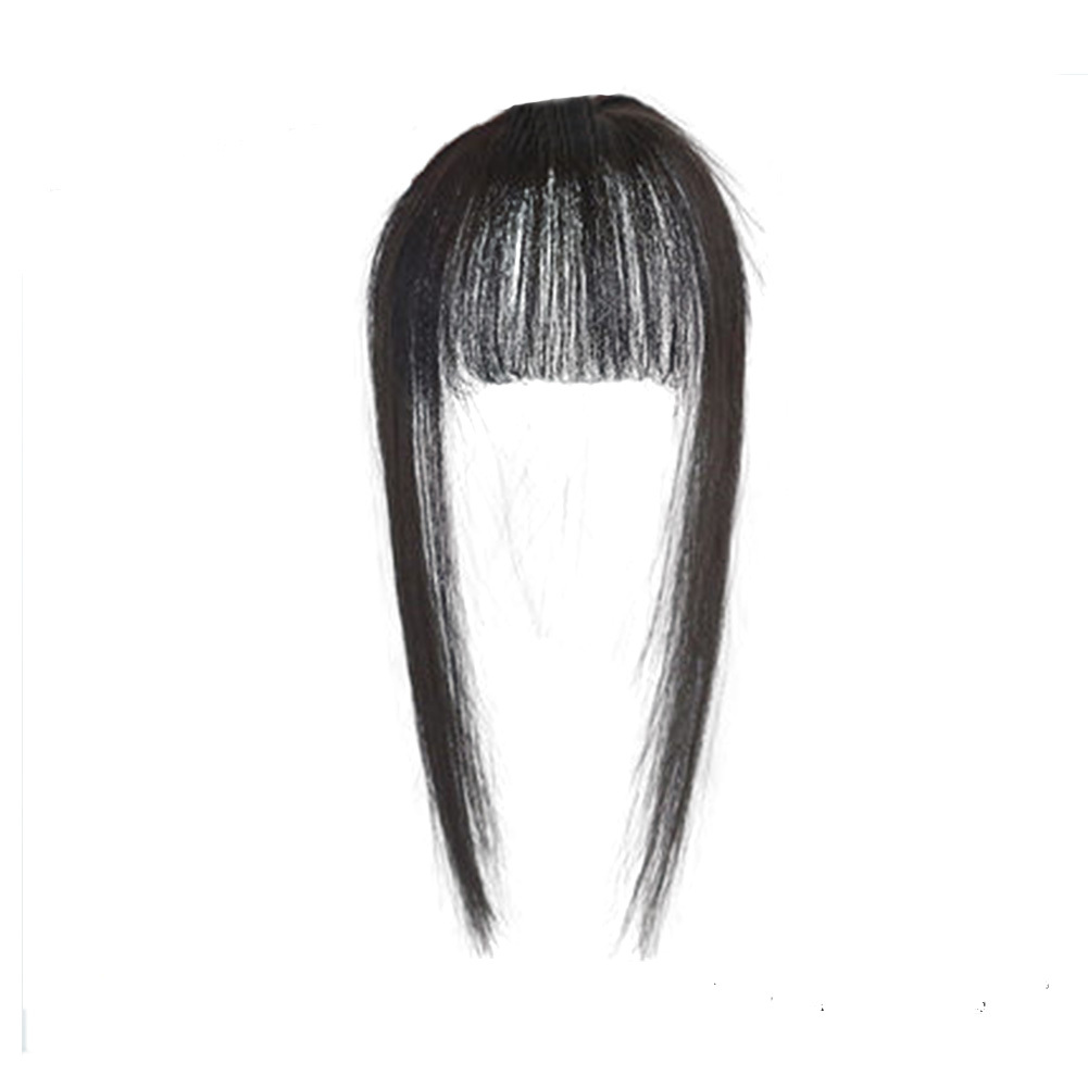 Hair Toupee Neat Bangs Stragight  Mono 3.5*4.5cm Net Breathable Light And Thin Straight Hair Topper For Loss Hair Cover White Hair 6