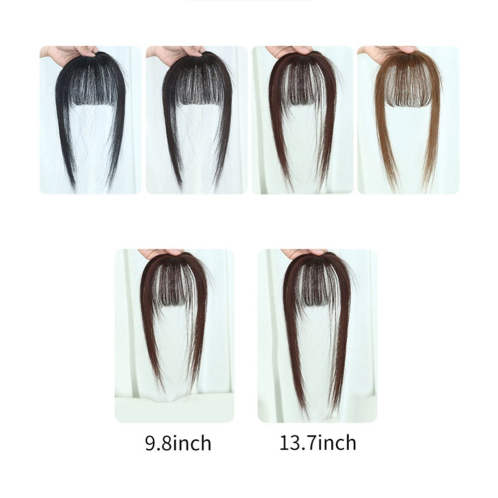 Hair Toupee Neat Bangs Stragight  Mono 3.5*4.5cm Net Breathable Light And Thin Straight Hair Topper For Loss Hair Cover White Hair 7