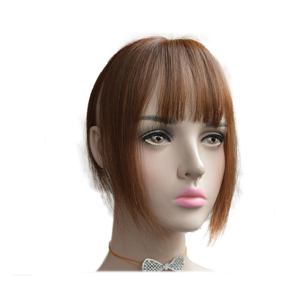 Hair Toupee Neat Bangs Straight  Mono 5*8cm Net Breathable  Light And Thin Straight Hair Topper For Loss Hair Cover White Hair