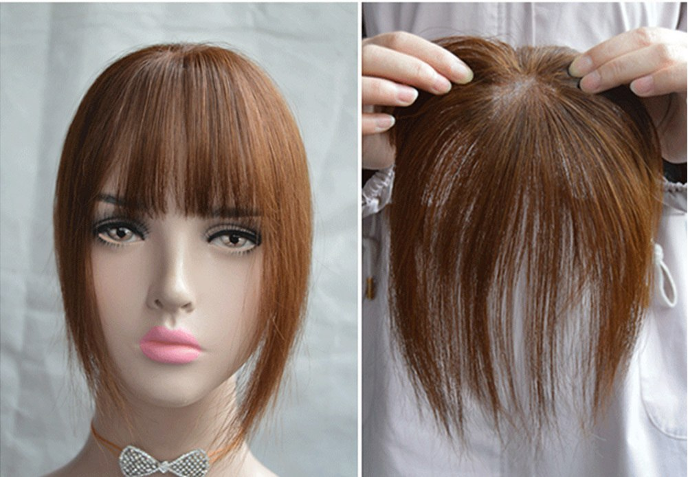 Hair Toupee Neat Bangs Straight  Mono 5*8cm Net Breathable  Light And Thin Straight Hair Topper For Loss Hair Cover White Hair 1