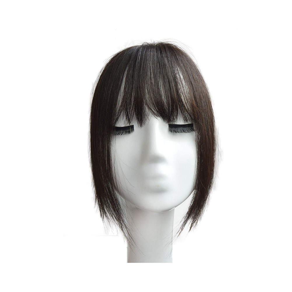 Hair Toupee Neat Bangs Straight  Mono 5*8cm Net Breathable  Light And Thin Straight Hair Topper For Loss Hair Cover White Hair 2