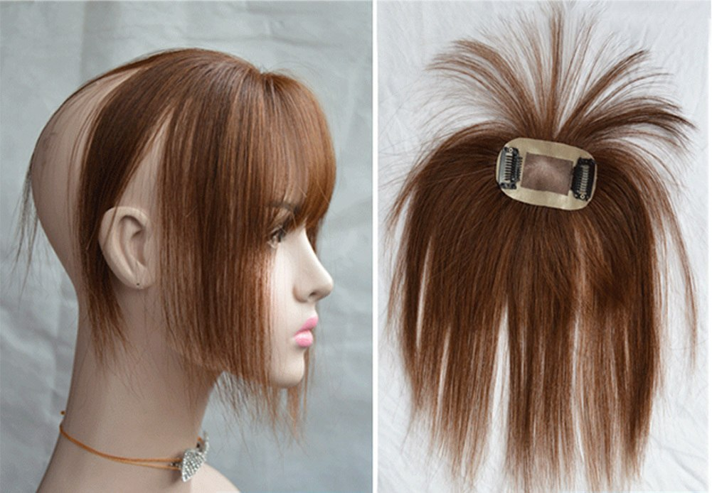 Hair Toupee Neat Bangs Straight  Mono 5*8cm Net Breathable  Light And Thin Straight Hair Topper For Loss Hair Cover White Hair 6