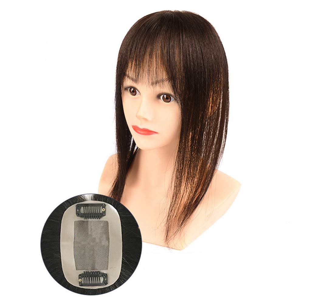 Hair Toupee Stragight Mono 7*10cm Net Breathable Light And Thin Straight Hair Topper For Loss Hair Cover White Hair
