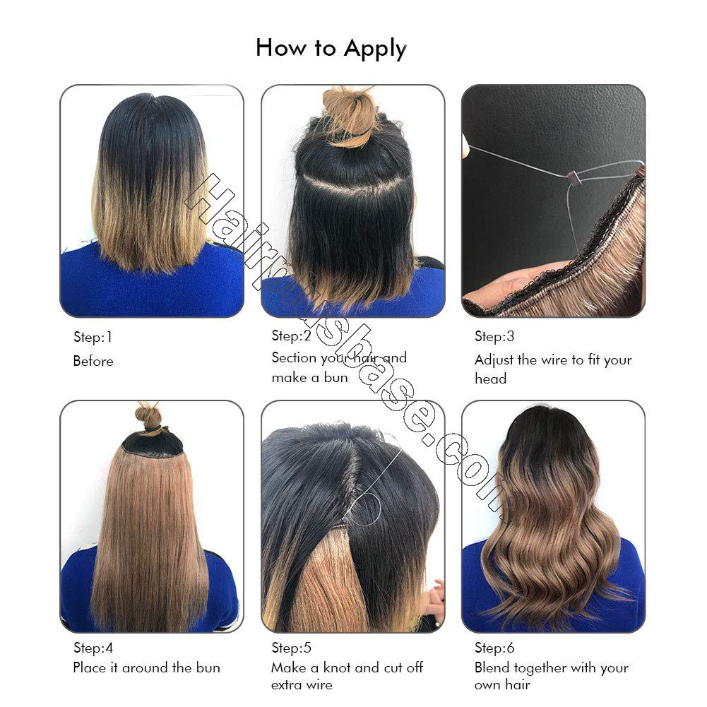 Halo Hair Extensions For Short Hair #8/613 Body Wave/Straight 7