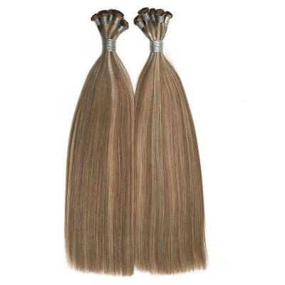 Hand Tied Hair Extensions Human Hair Wefts 6 Bundles/Pack Straight #8/24