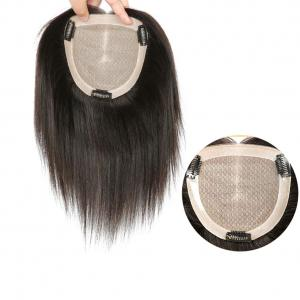 """Hand Tied Human Hair Crown Toppers 5.5"""" x 5.5"""" Silk Base Top Hair Pieces for Women with Alopecia"""