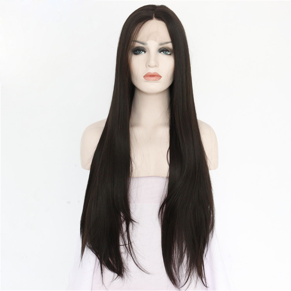 Handmade Long Black Straight Synthetic Lace Front Wigs